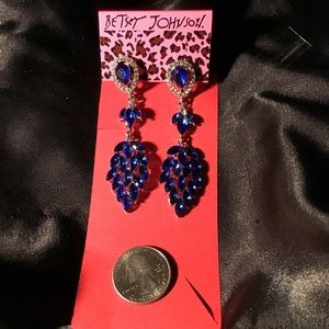 Draping Blue Crystals Earrings